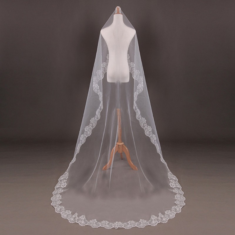 6c965c69ed6f6 150cm Women Bridal Short Wedding Veil White One Layer Lace Flower Edge  Appliques