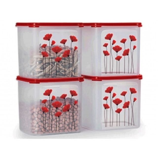 Tupperware Red Poppy Garden MM Square III (1) 4L