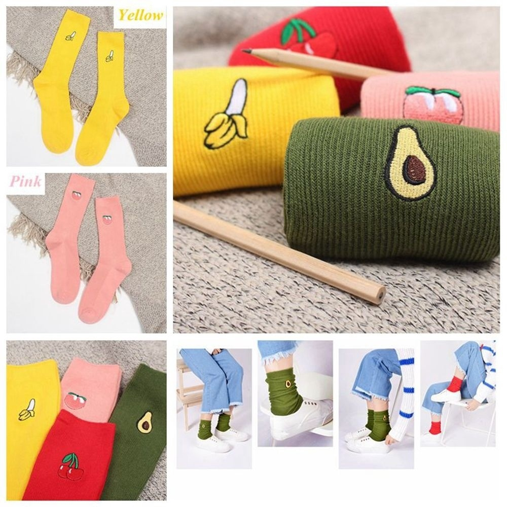 Women Cartoon Warm Cotton High Sock 3D Fruit Embroidery Casual Hosiery 1 Pair hi