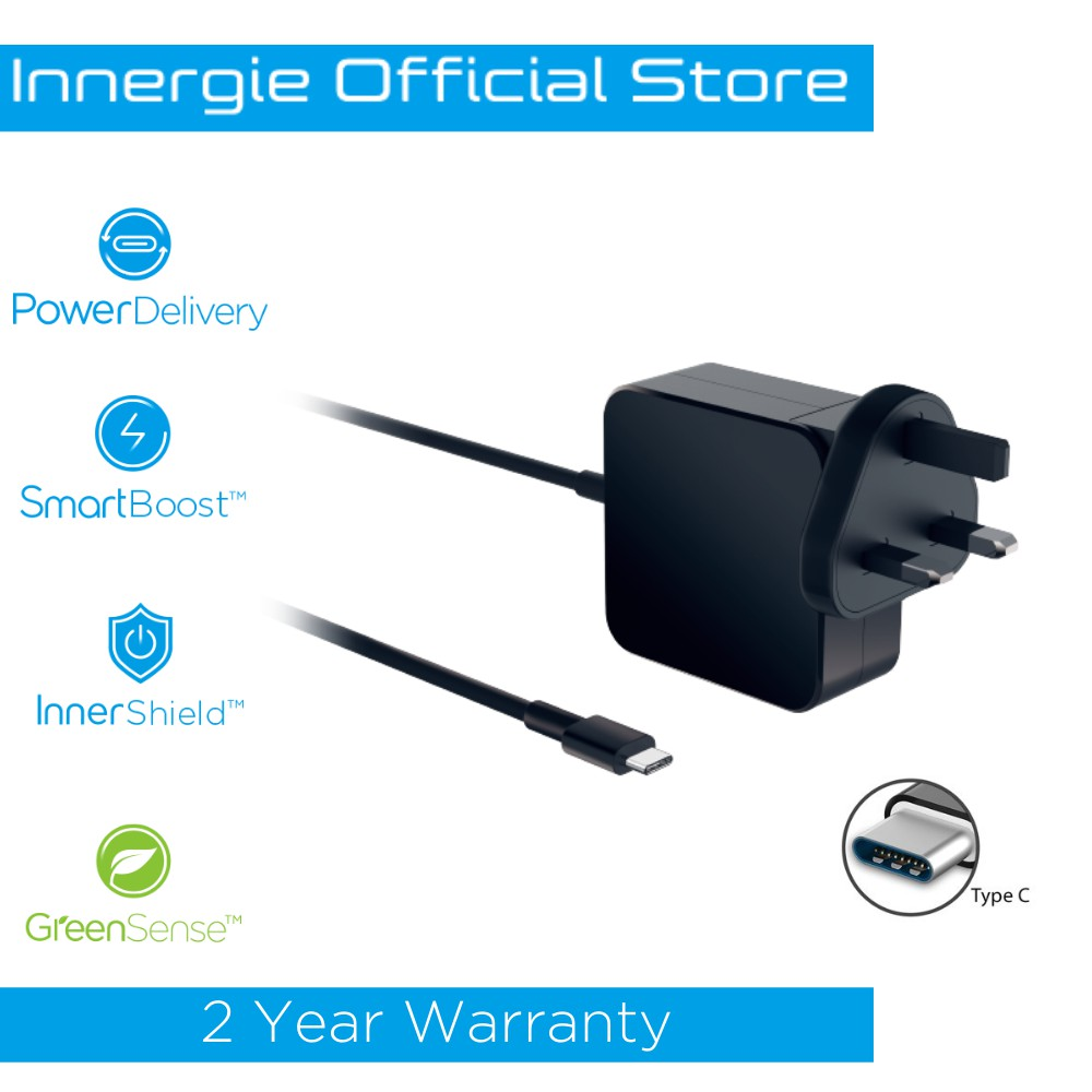 Innergie 65C (BK) USB-C Power Adapter 65W with USB PD Fast Charge 2m Built-in Type C cable