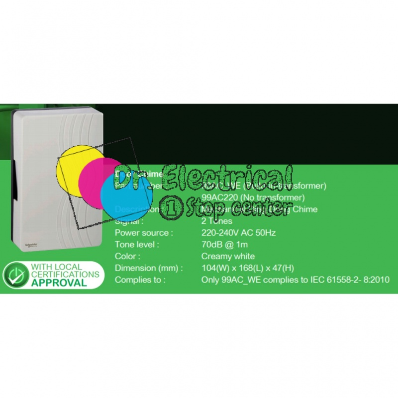 Schneider Electric 99AC_220  Mechanical DING DONG Door Chime 220-240VAC without transformer