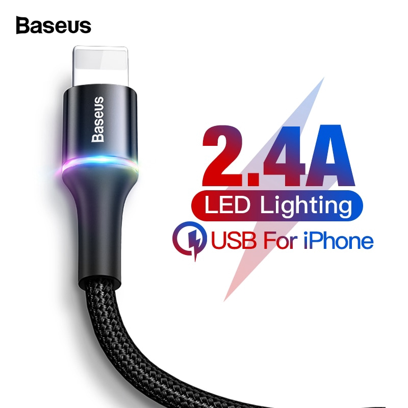 Baseus USB Charger 2 4A Fast Charging Data USB Cable for iPhone Xs Max Xr X  8 7 Plus Apple iPad Charger