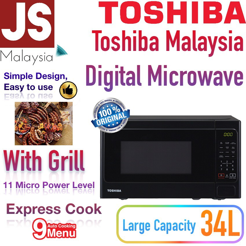 Toshiba Microwave With Grill ER-SGS34 34L 9 Auto Menu [2 In 1 Grill + Microwave]