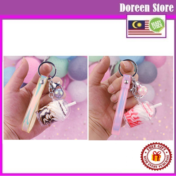 McD Sundae Ice Cream Keychain Chocalate / Strawberry