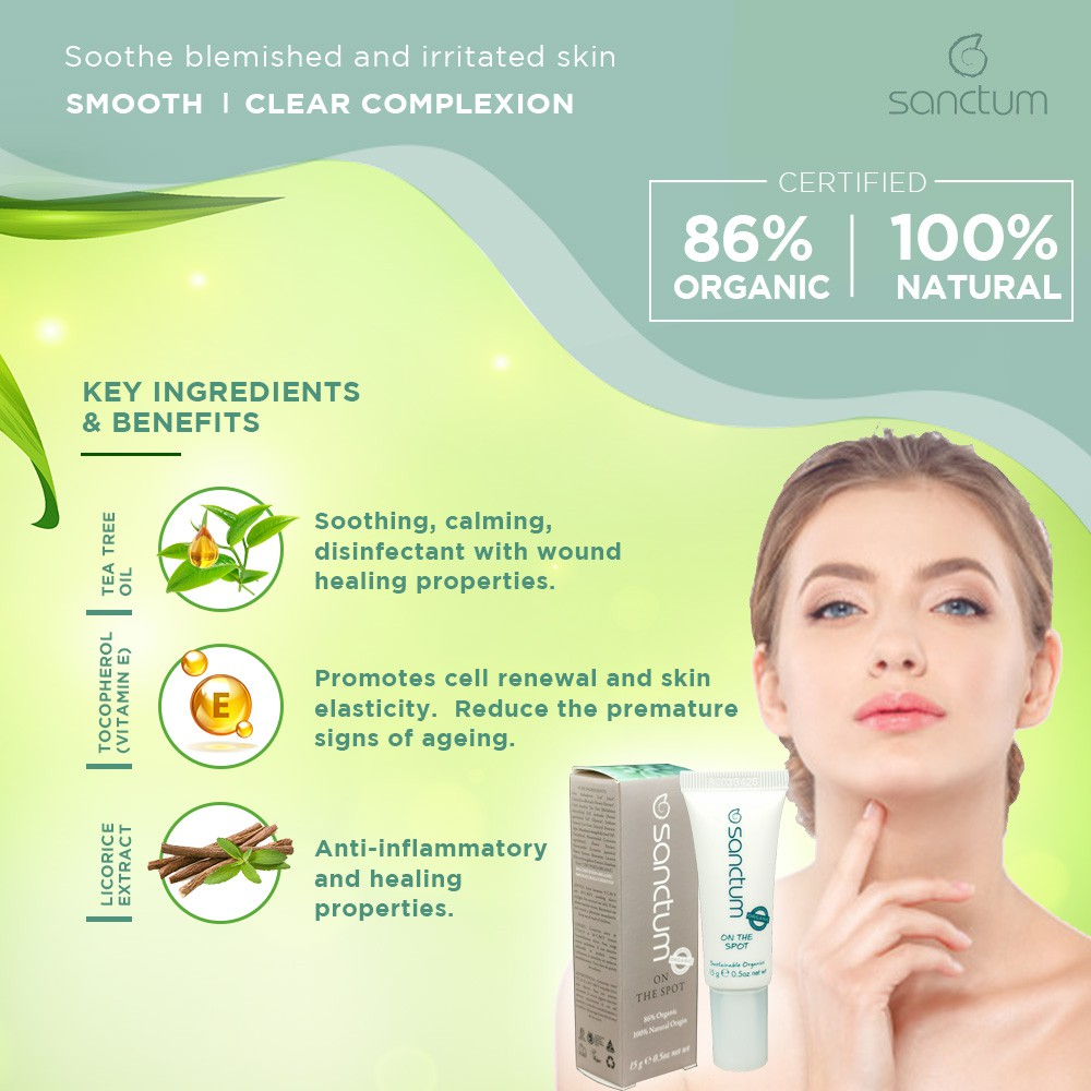BIG SALE![Exp: 8/2020] Sanctum On The Spot Blemish Gel 15g With Tea Tree and Vitamin E | For Acne Prone & Sensitive Skin