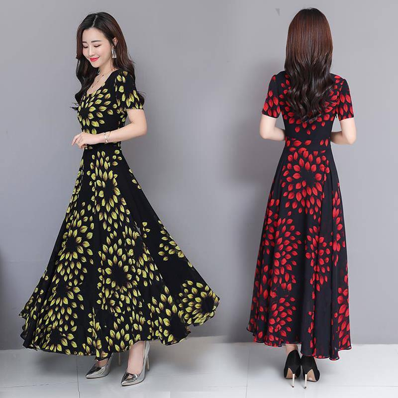 86f3a2bf9646 ProductImage. ProductImage. Women's Round Neck Floral Printed Flowy Elegant  Chic Casual Long Maxi Dress