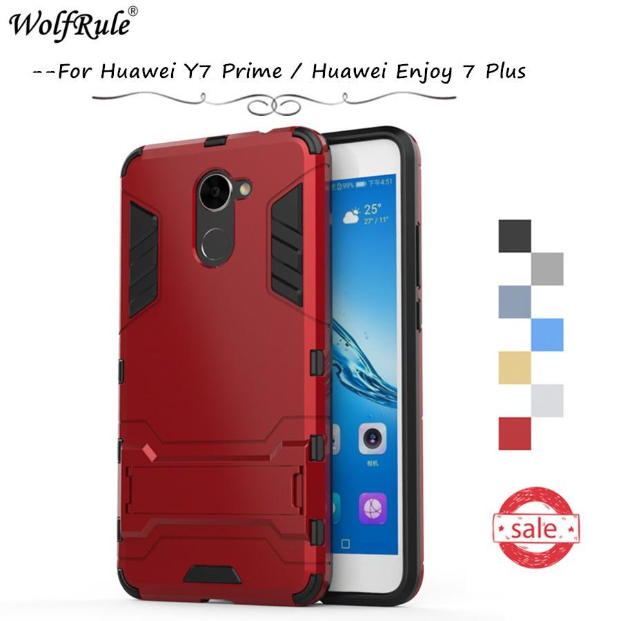 Huawei Y7 Prime / Huawei Enjoy 7 Plus Phone Case & Hard Plastic Hidden  bracket Cover