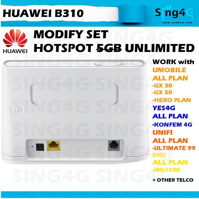(MODIFIED) Huawei B310 B315 4G Router Modified Unlimited Hotspot Tethering
