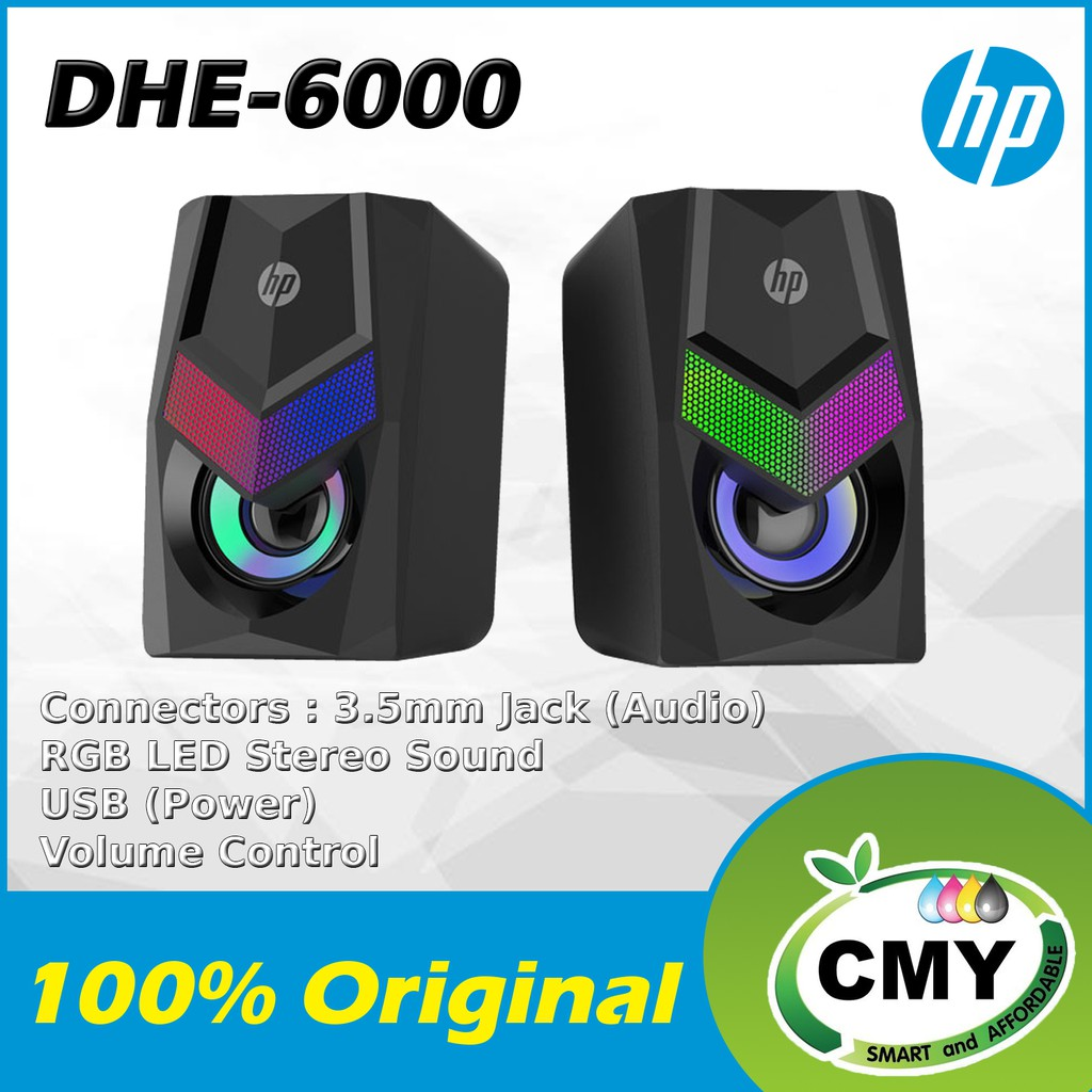 HP DHE-6000 Wired Speaker Gradient RGB LED Backlight Audio Player Multimedia Stereo Subwoofer 3.5mm Jack