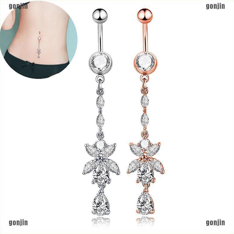Elegant Crystal Sea Star Navel Ring Belly Piercing body Jewelry Long Dangle