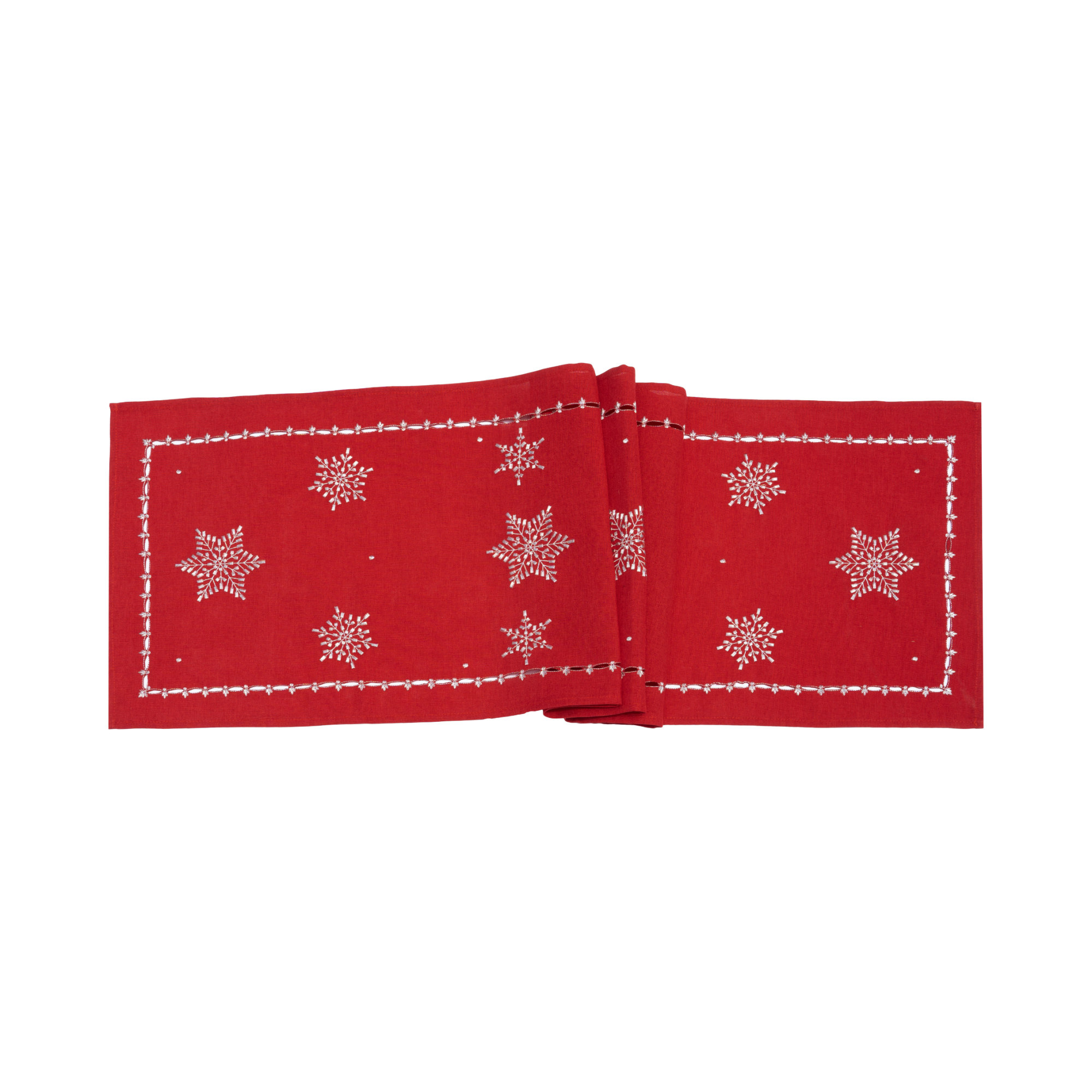 Silver Snowflakes Embroidery With Cutwork Border Table Runner/Dresser Scarf. Easy Care Polylinen Multi-Size(Red/Silver)