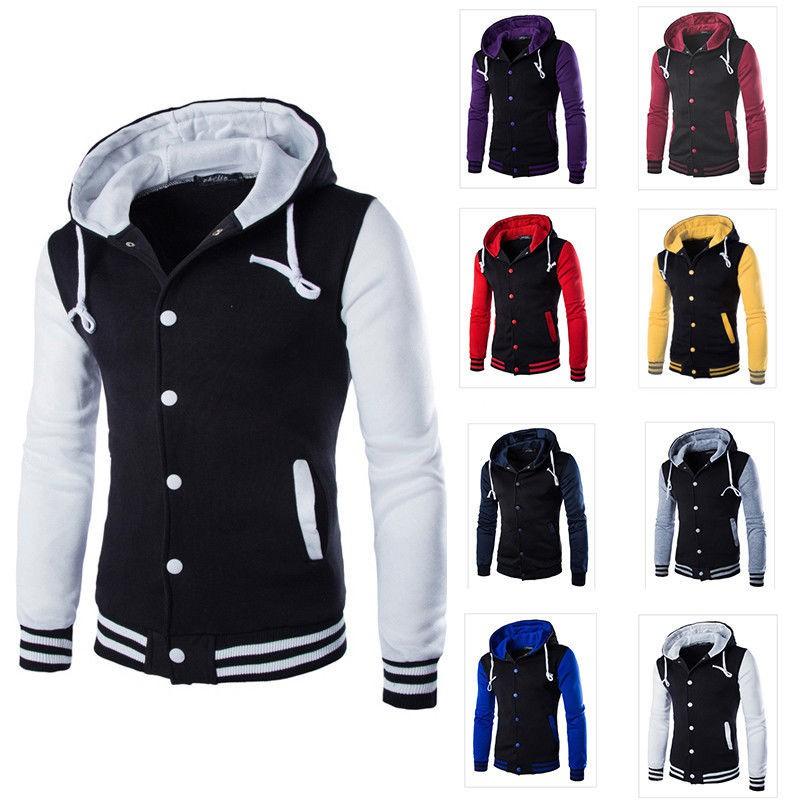 Mens Varsity Baseball Jacket Letterman College University Hoodie Coat Outwear