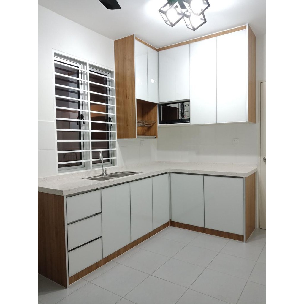 Kitchen Cabinet With 11 Ft Melamine Glossy White Shopee Malaysia