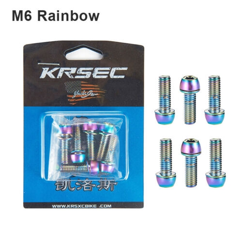 6Pcs Titanium-plated AL M5//M6*23mm Bolt For MTB Bike Bicycle Stem With Washer