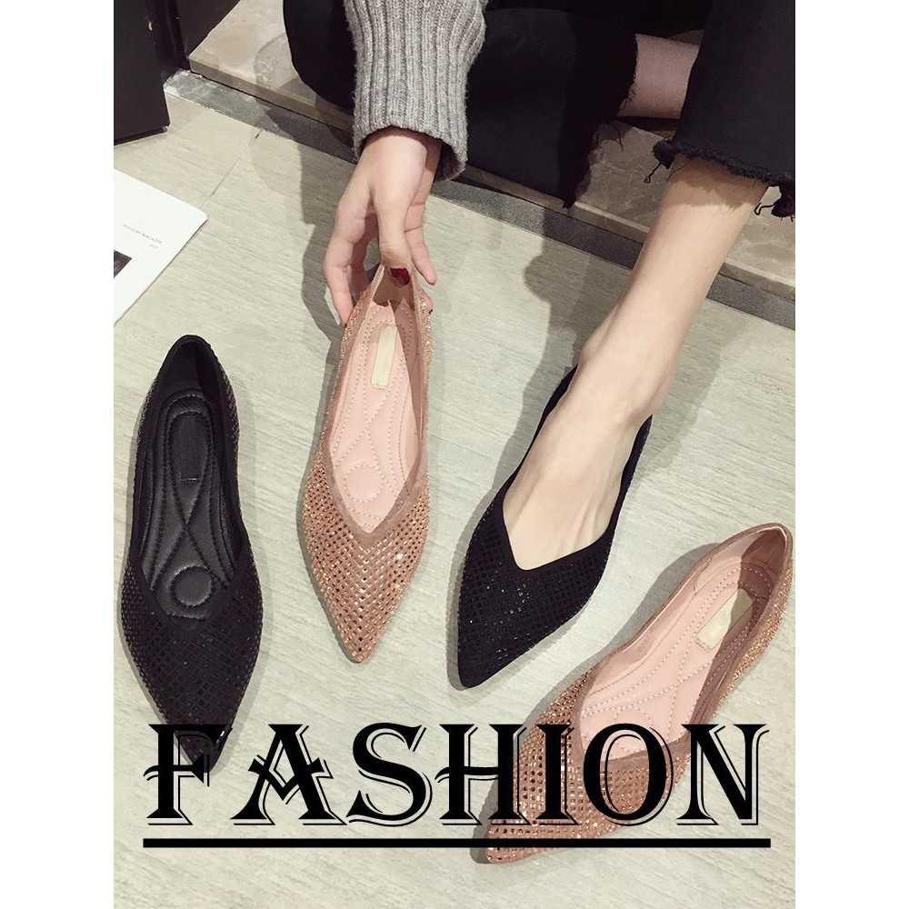86c8bb8d35 Pointed single shoes female summer wild sequins shallow mouth flat bottom  scoop