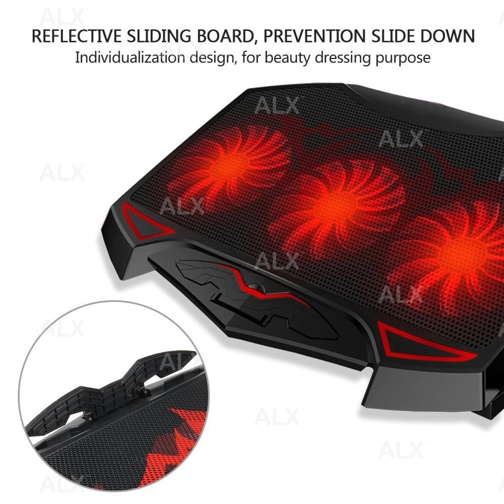 """Dual USB 2.0 Port BA Adjustable 3 Fans Cooling Pad for 12-17/"""" Laptop,LED Light"""