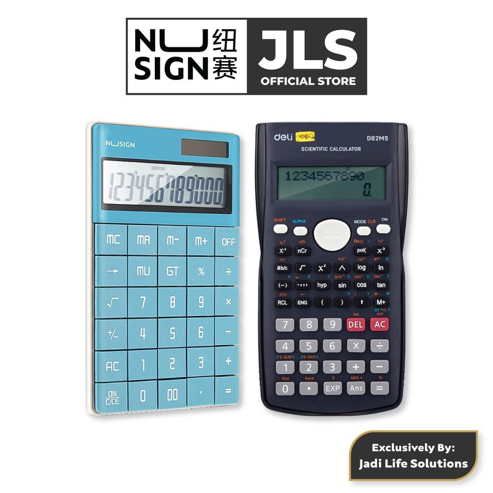 Jadi Nusign Lagoon Blue Digital Calculator NS041 & Scientific Calculator ED82MS Premium Set