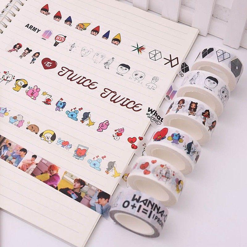 Jewelry & Accessories New Arrival Kpop Bts Bt21 Got7 Wanna One Twice Cute Washi Tape Paper Masking Scrapbook Notebook Sticker Diy 2cm*10m 1 Pcs Clear And Distinctive
