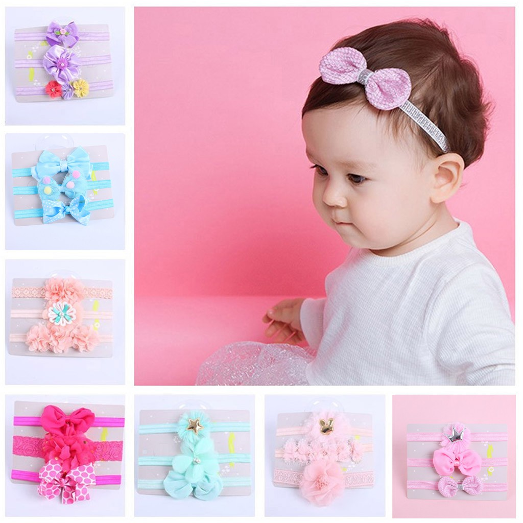 3Pcs Child Floral Headband Girls Baby Elastic Bowknot L Accessories Hairband Set