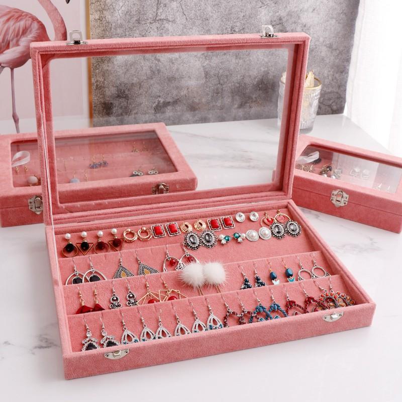 Velvet Jewellery Box Earrings Ear Studs Display Storage Case Hanger Holder M
