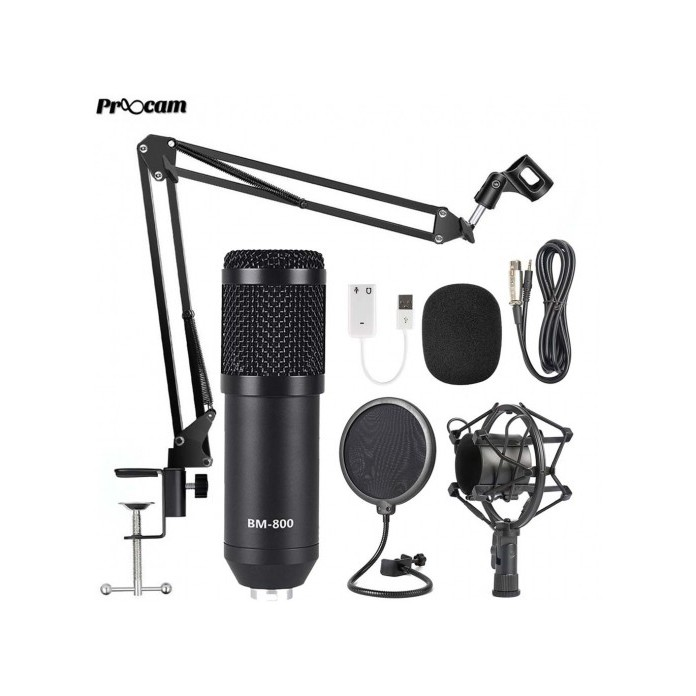 Proocam BM800 Microphone Vocal Stand Kit set Broadcast Condenser Studio Mic  LIVE PC mobile phone