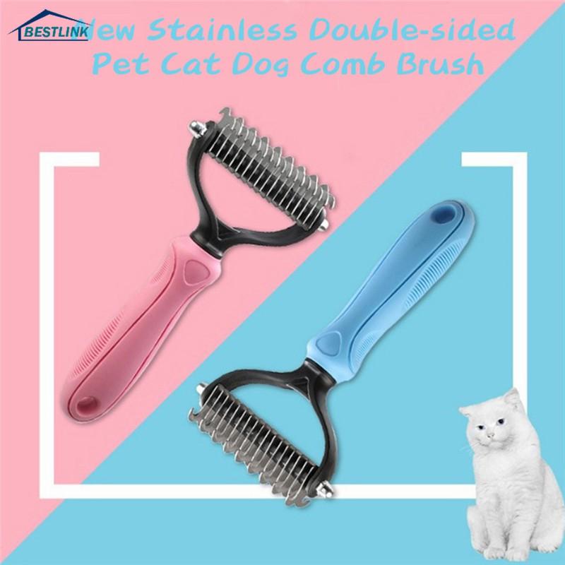 Pink Stainless Pet Dog Cat Deshedding Comb Blade Short Hair Brush Rake Grooming Tool