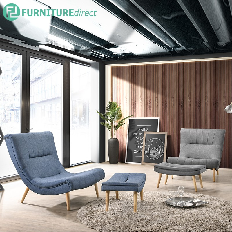 Furniture Direct TIMMY fabric lounge chair with stool-Blue