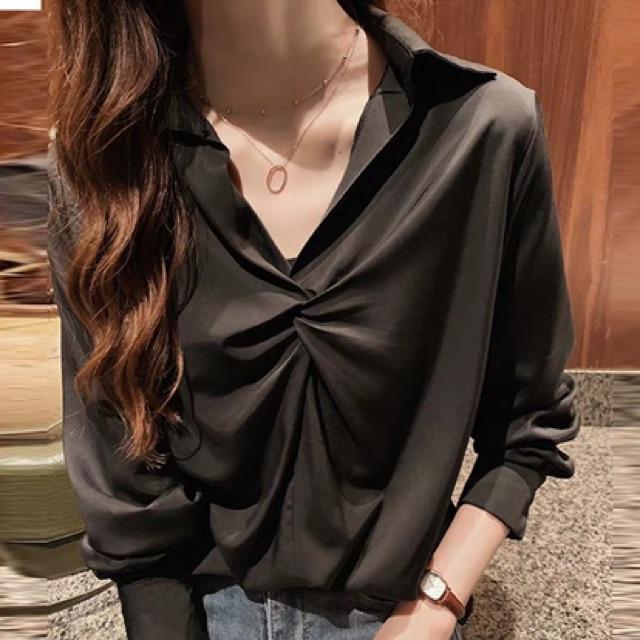 [M~4XL]Plus Size Korean design fashion long-sleeved shirt 春季女装韩版新款设计感小众打底衬衣长袖时尚洋气纯色衬衫潮