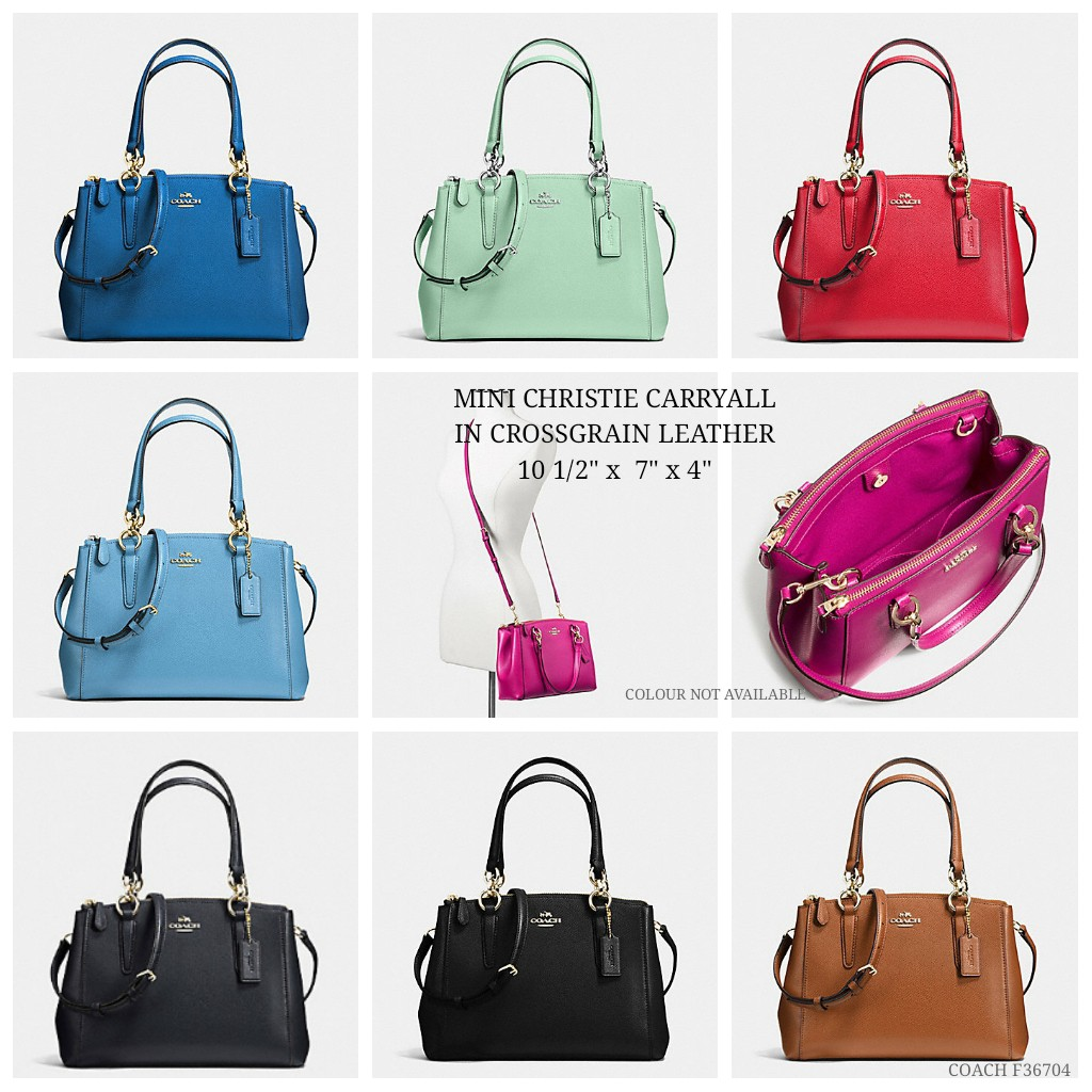 0b6a7d35e4c4 Coach mini christie carryall in crossgrain leather