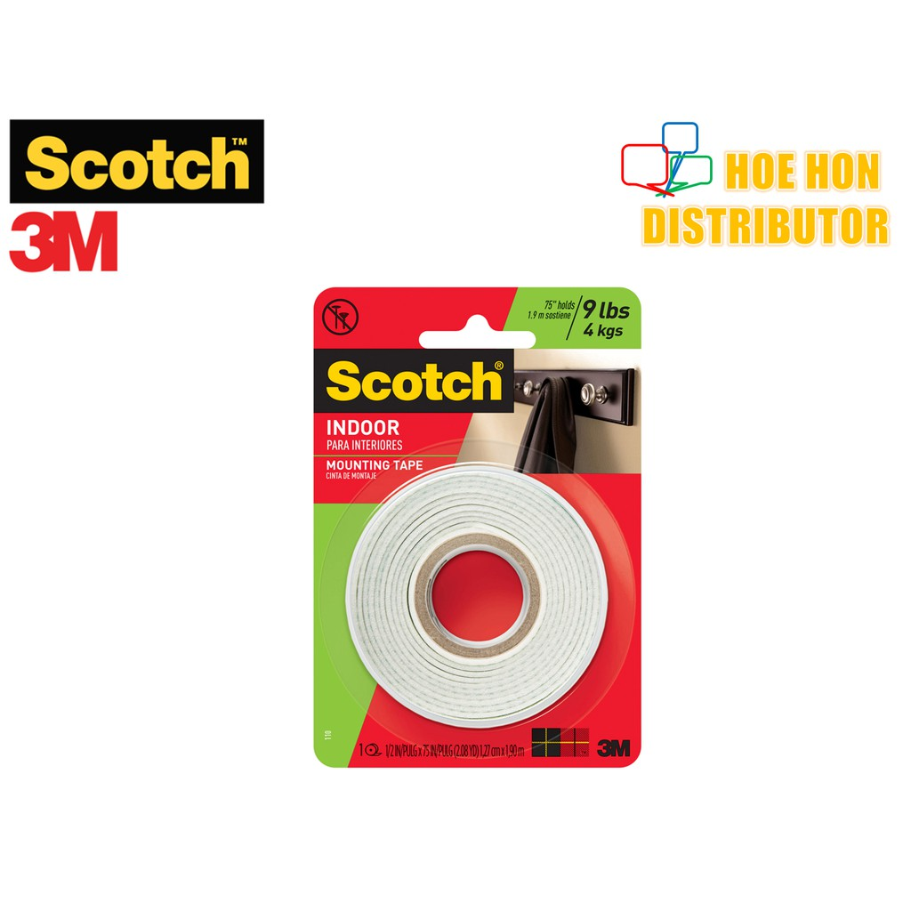 3M Scotch Indoor Permanent Mounting Tape 12 7mm x 1 9m (1/2 Inch x 2 08  Yard)