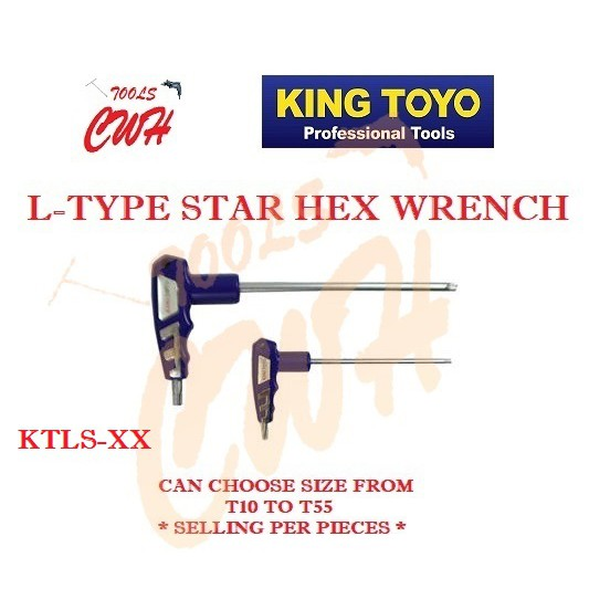 KING TOYO T10-T50 L-TYPE STAR HEX WRENCH HEX ALLEN KEY CHROME COLOUR TAIWAN HARD STEEL SCREW TIGHT LOOSE OPEN CLOSED