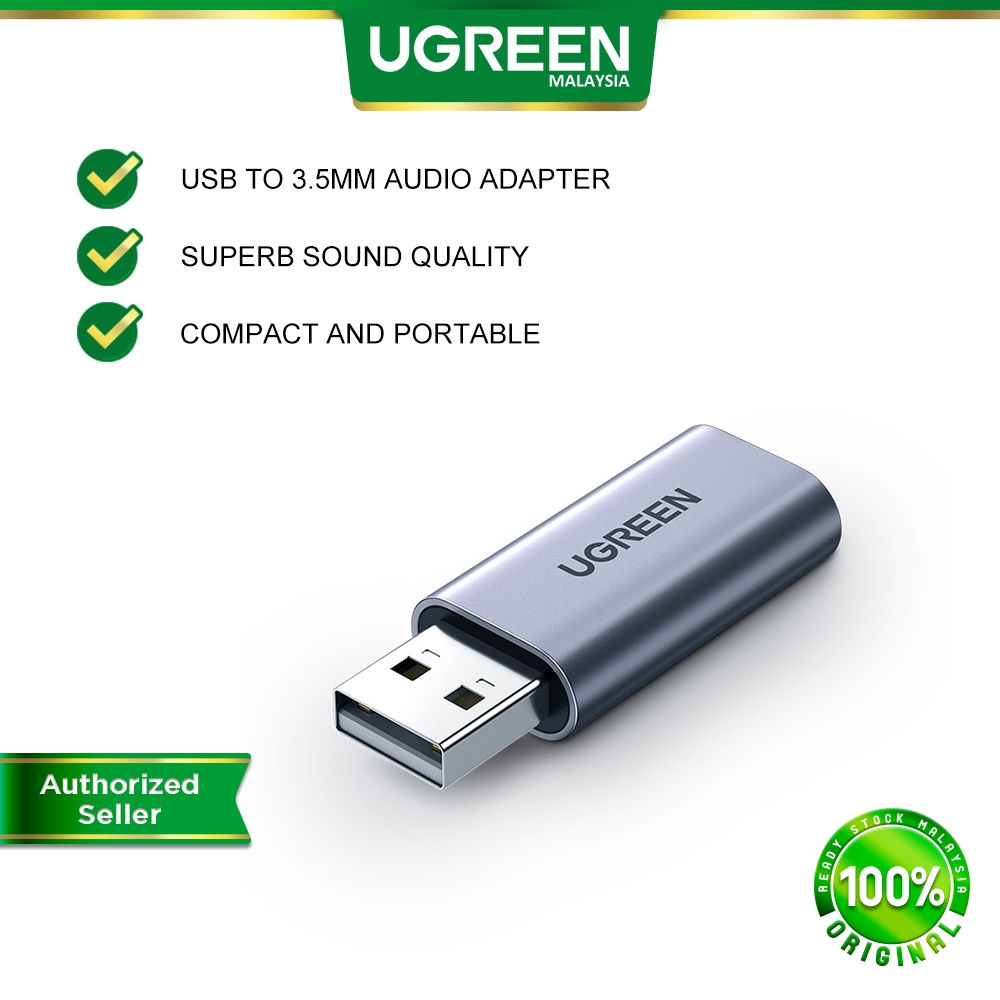 UGREEN USB External Sound Card Audio Adapter 2 in 1 USB to 3.5mm Jack Audio AUX Adapter Aluminum Stereo Sound Card