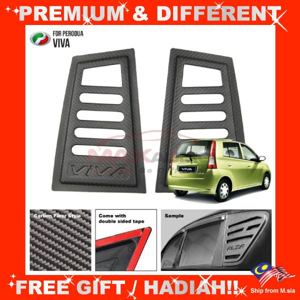 [FREE Gift] PERODUA VIVA (Carbon) PREMIUM Quality Anti Heat 3D Side Window Glass Cover Guard (Pair)