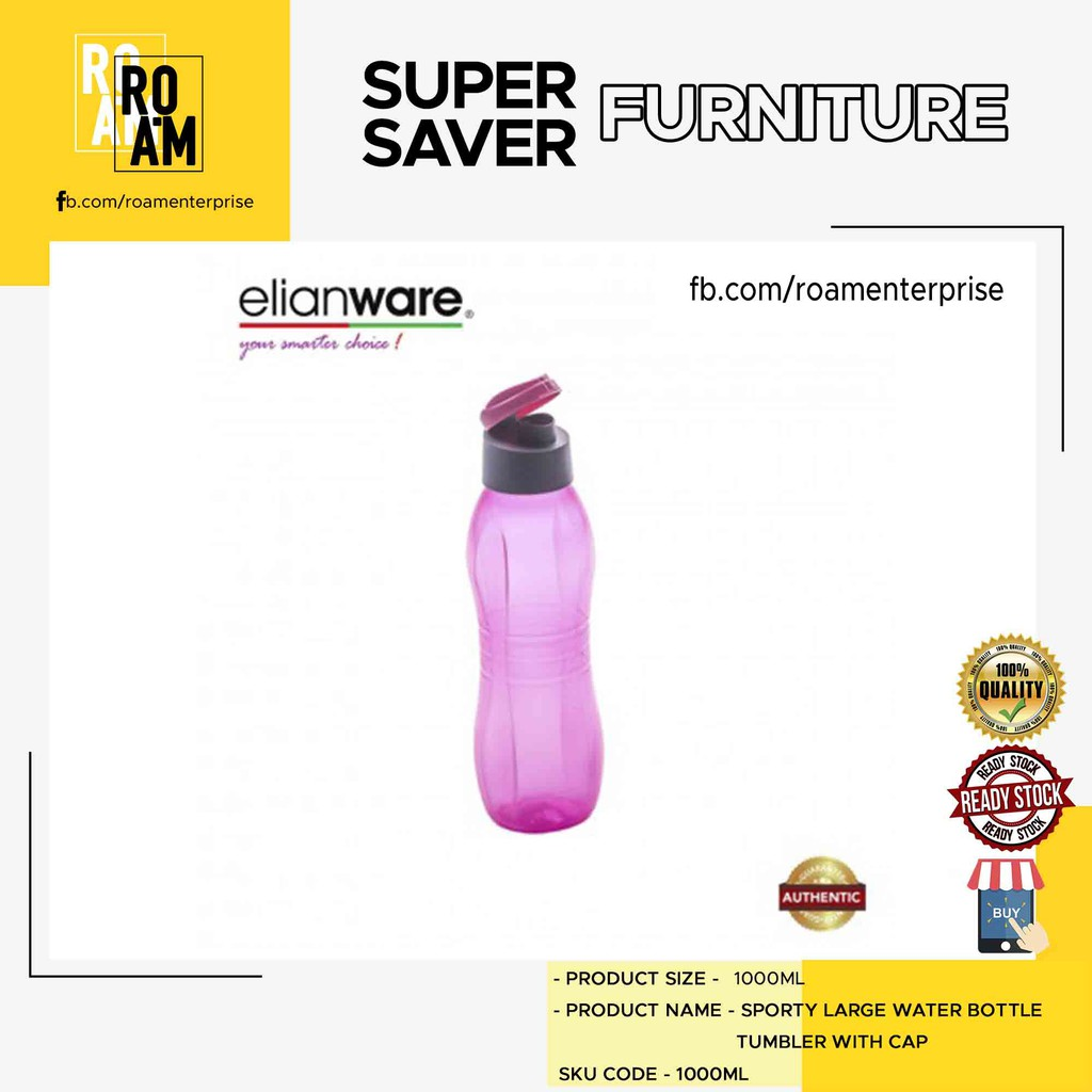 (Ready Stock)Elianware 1000ml Tumbler ( BPA FREE)( PINK/BLUE/GREEN/PURPLE)
