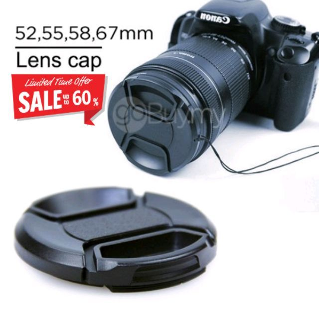 Universal DSLR Front Lens Cap Cover for Canon/Nikon With Sting