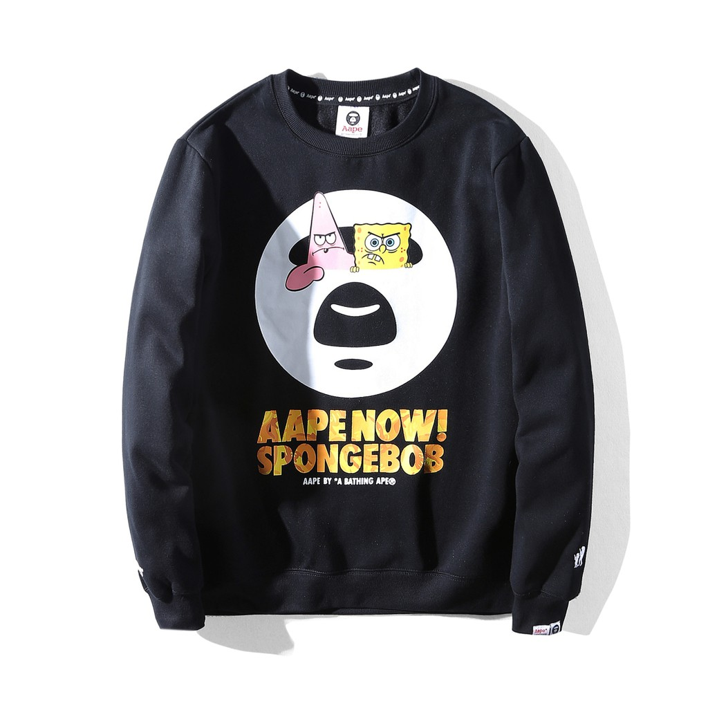 9d5d89f15798 Spongebob AAPE By a Bathing Aape Round Neck Long Sleeves Sweater  (Black,Pink) | Shopee Malaysia