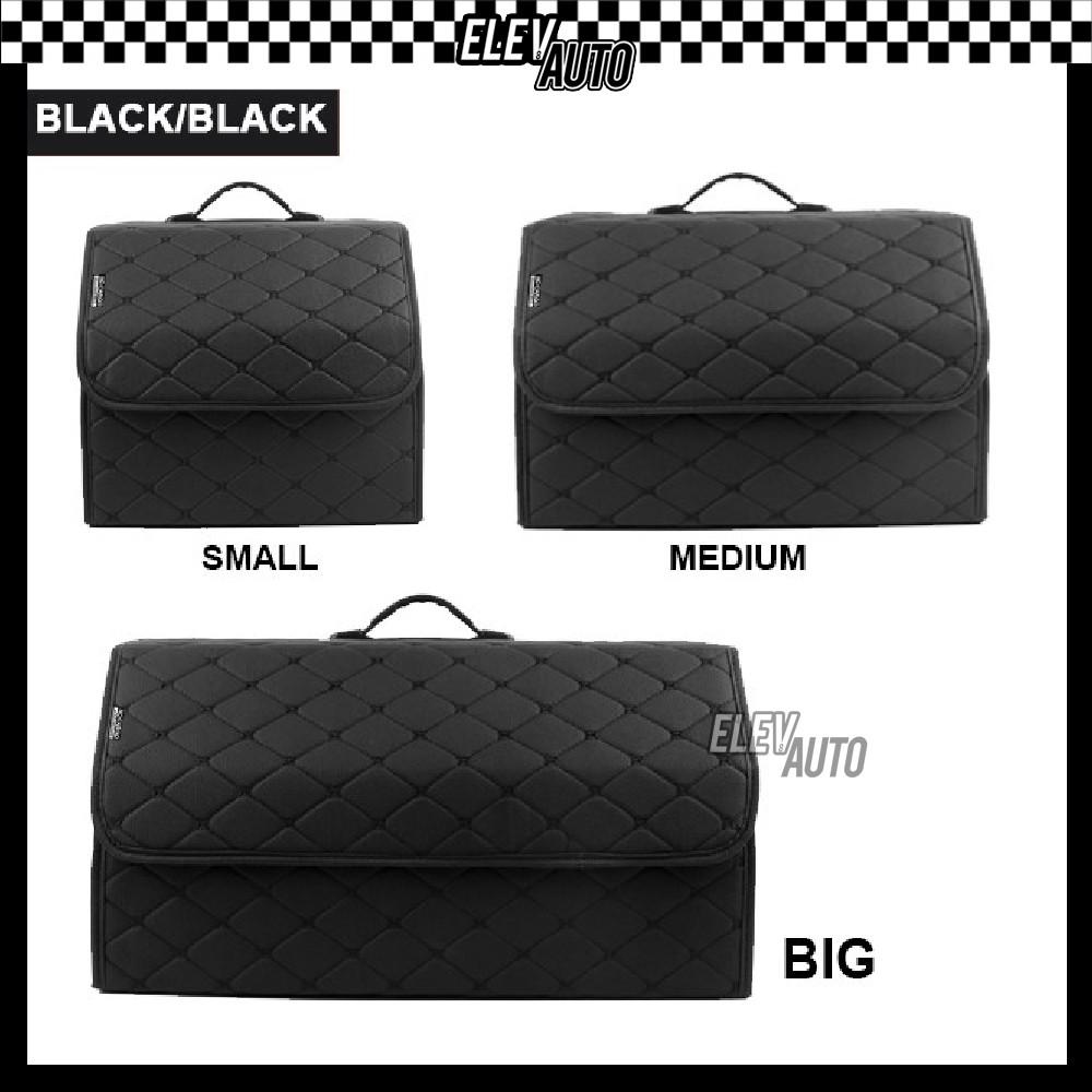 Premium Car Trunk Storage Box PU Leather Folding Foldable Multi Function Organizer Rear Boot Store Trunk Tray