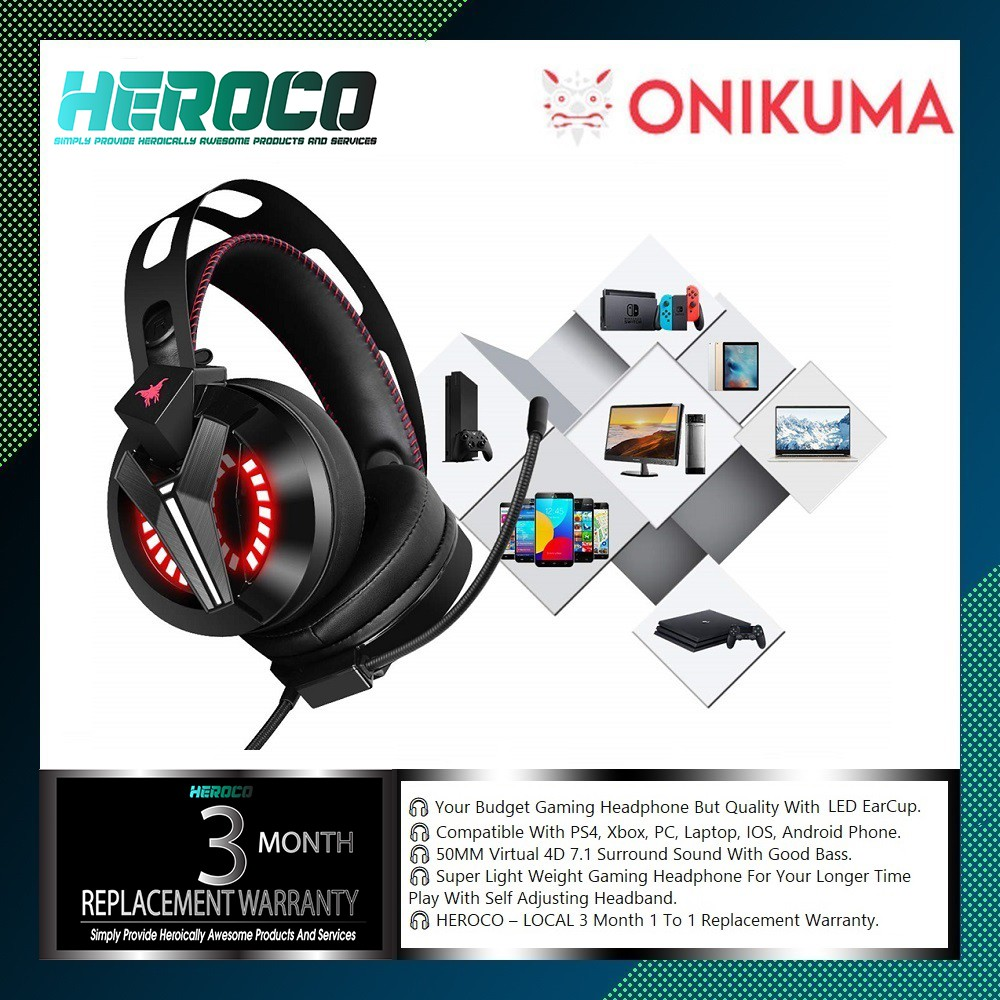 ONIKUMA M180 Gaming Headset PS4, Xbox One Headset with Microphone for PS4,  Xbox One(Adapter Needed), PC, Mac, Laptop