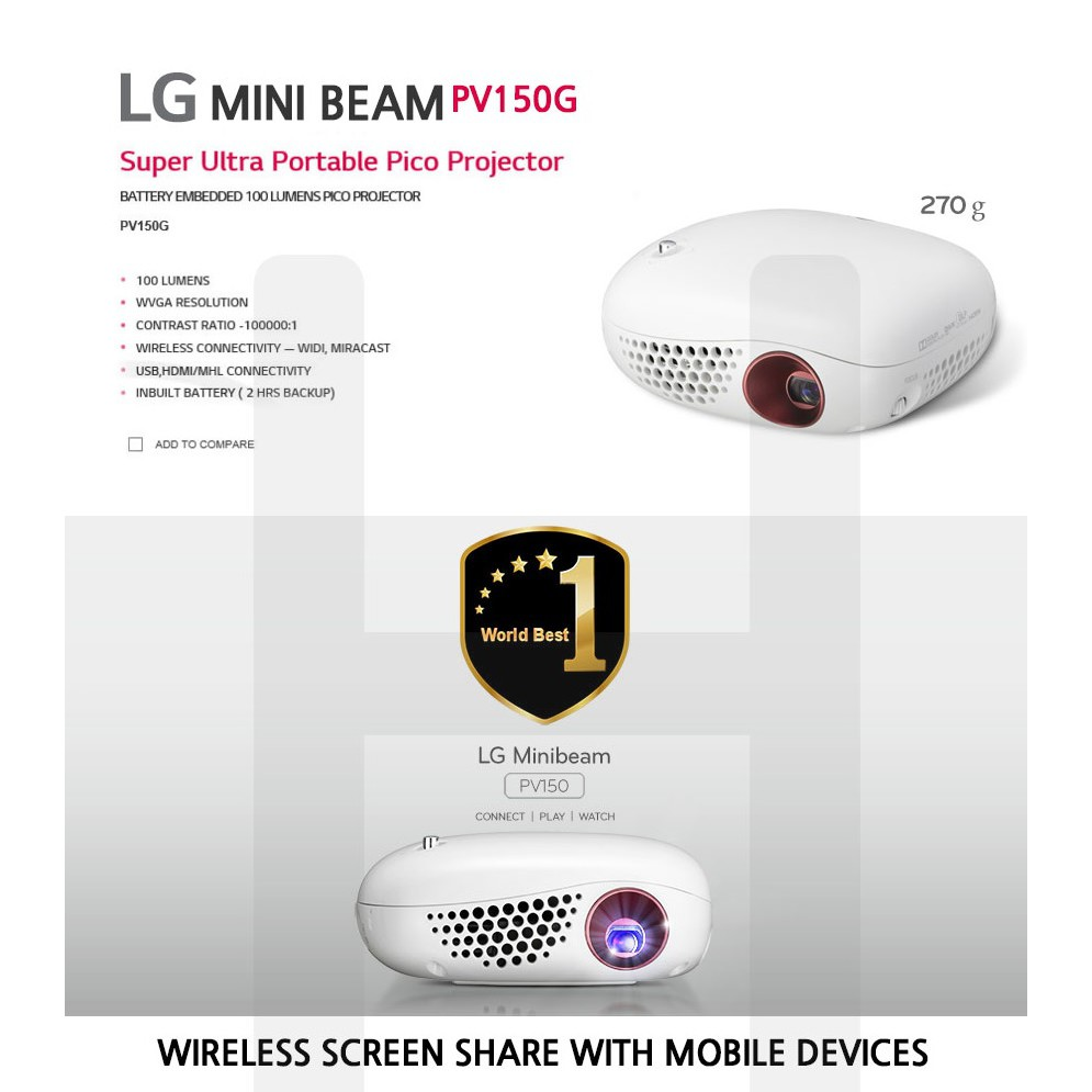LG Portable Mini Smart Projectors PV150G /Mira cast WIDI