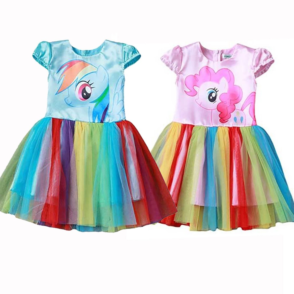 Age 3 4 5 6 7 Yrs Kids Summer Party Clothes Girls My Little Pony Rainbow Dress