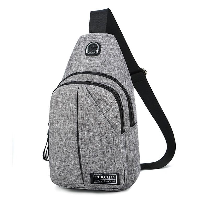 CJH Chest Bag Mens Tide Casual Canvas Shoulder Bag Messenger Bag Mens Sports Small Backpack Bag Chest Bag Mens Bag