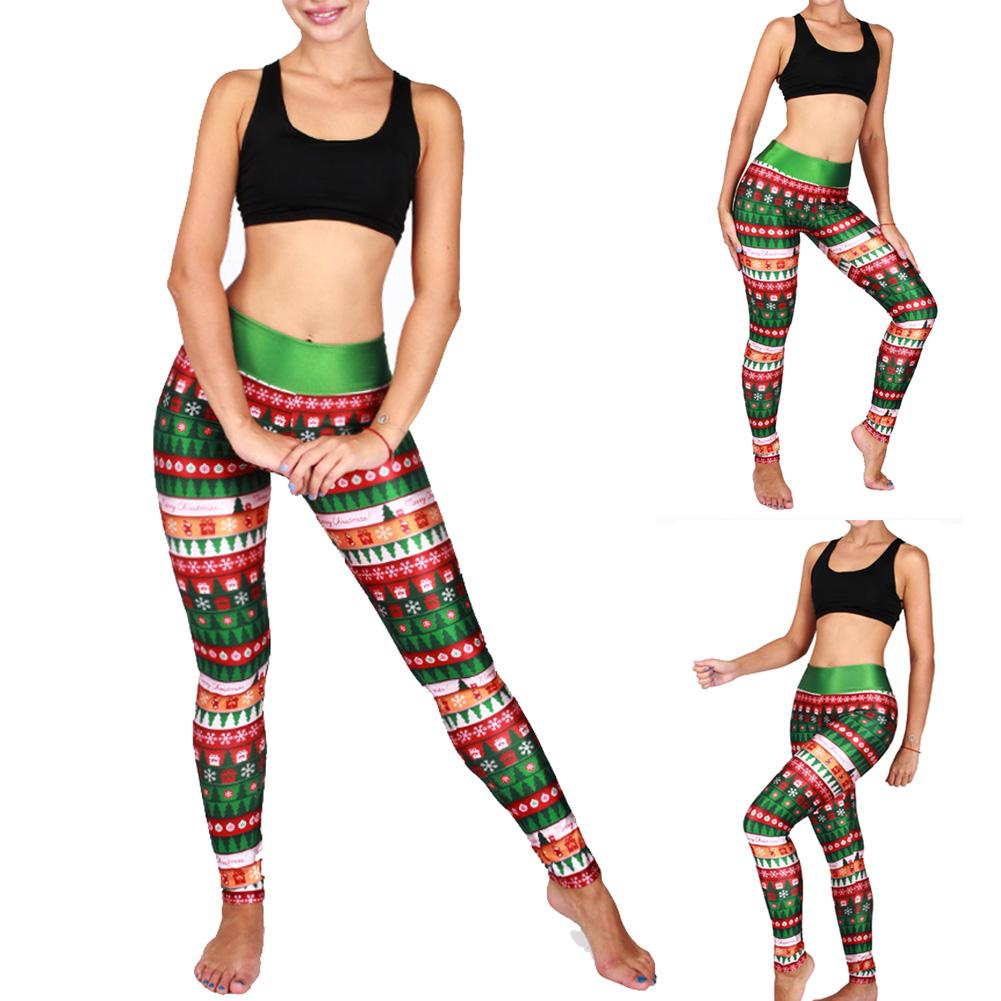 Womens Christmas Sports Slim Skinny Leggings Yoga Pants Elasticity Tight Trouser