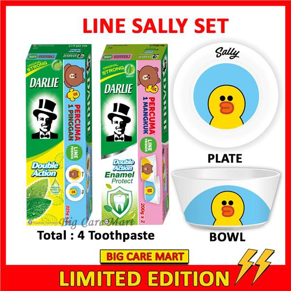 Darlie Double Action + Enamel Toothpaste + LINE Sally Bowl Plate