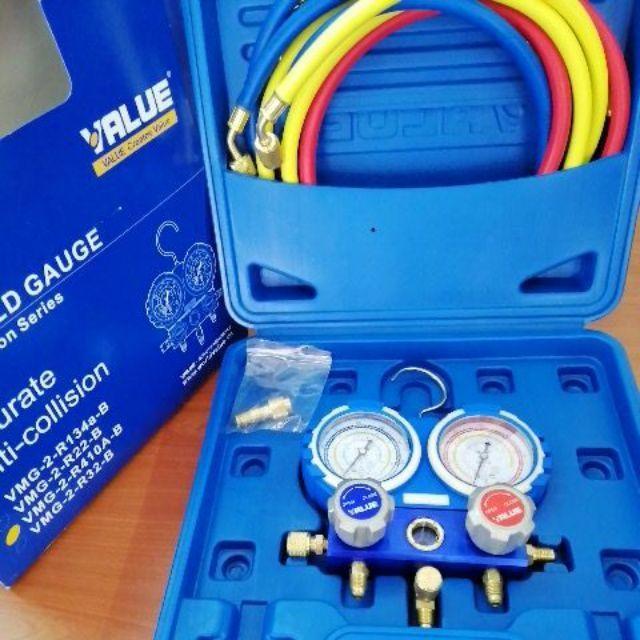 VALUE Air-Cond Service Dual Manifold Gauge Set R410a, R32, R22, R134a  (VMG-2-R32-B)