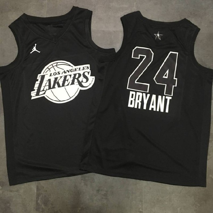 check out 9c9b2 a2796 Los Angeles Lakers 24 Kobe Bryant Black 2018 All star Jersey