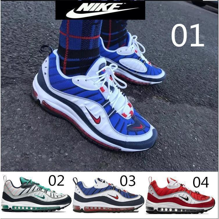Classic Nike Air Max 98 OG Gundam Men's Casual Running Sports Shoes White Yellow Blue