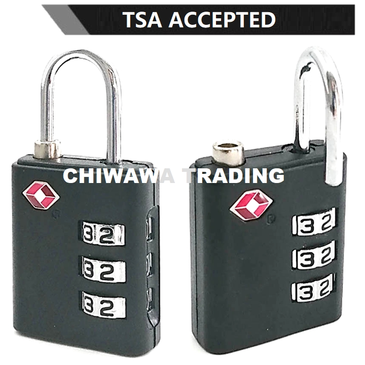 TSA Approved Security Customs 3 Digit Combination Password Code Luggage Padlock Travel Bag Suitcase Cable Lock
