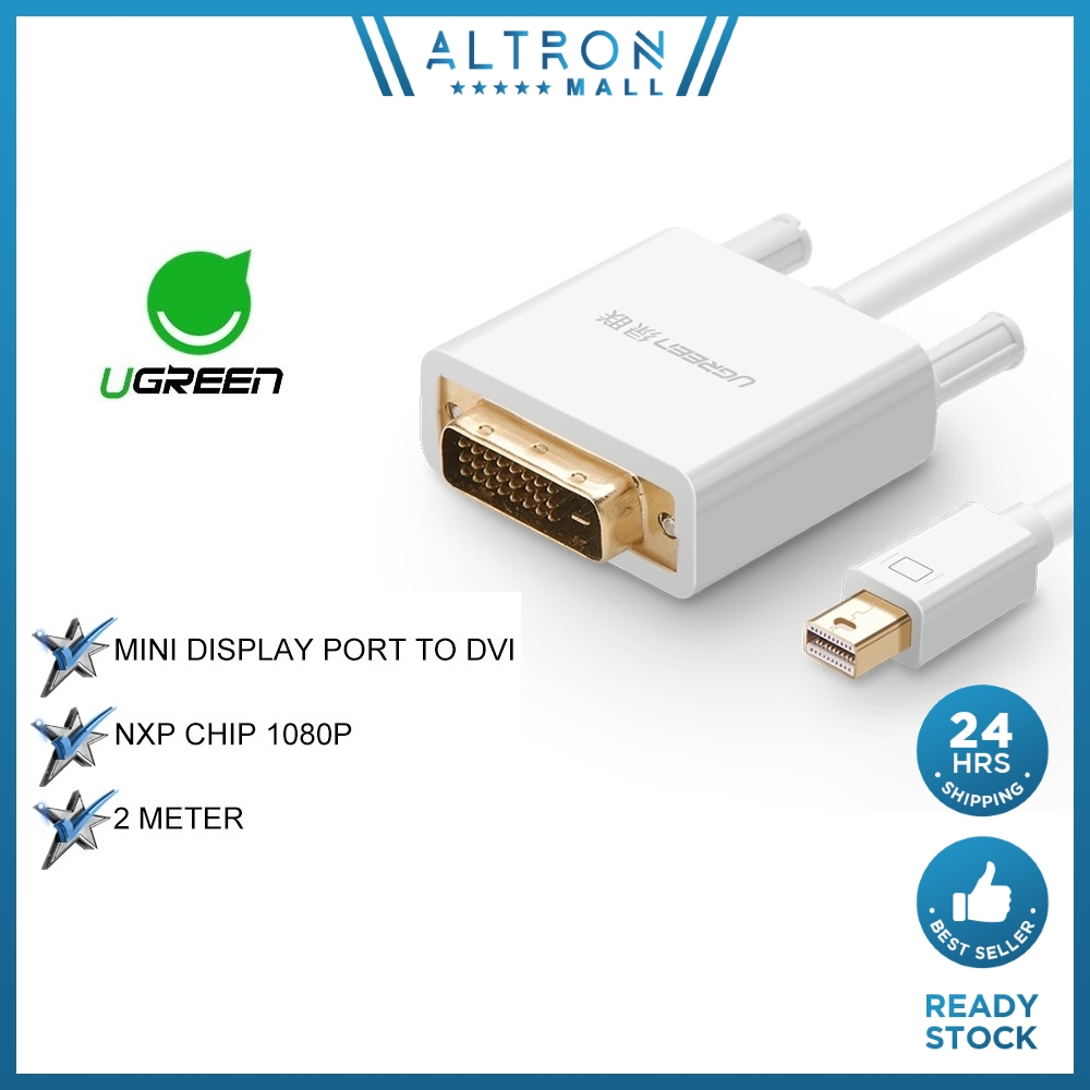 Ugreen 2M Mini DisplayPort DP to DVI 24 + 1Male Adapter Audio Video Cable 2 Meter White