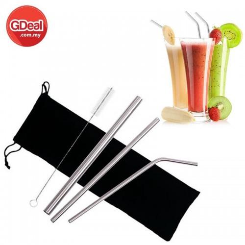 4Pcs Metal Straw Drinking Straws Set With Bag