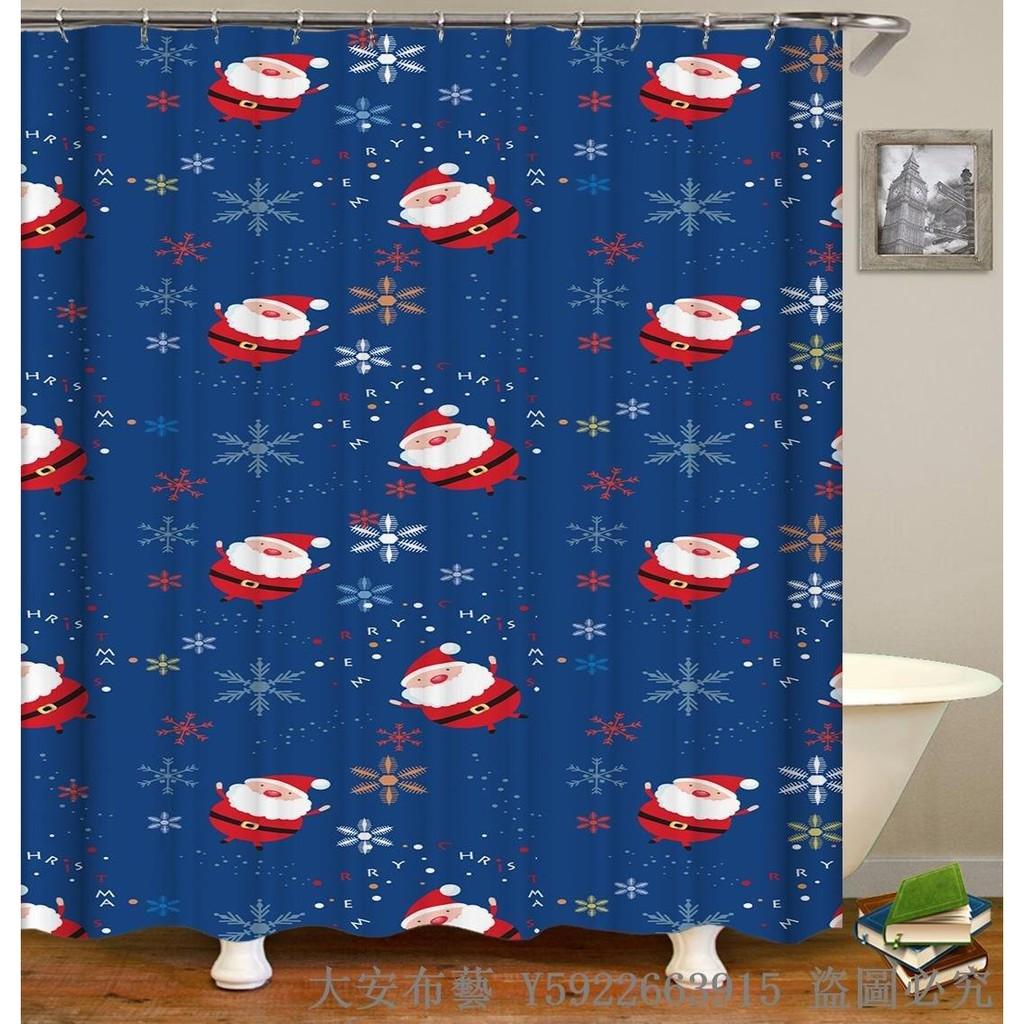 Newtp829 Cute Cartoon Snowflake Santa Shower Curtain Thicken Polyester Water